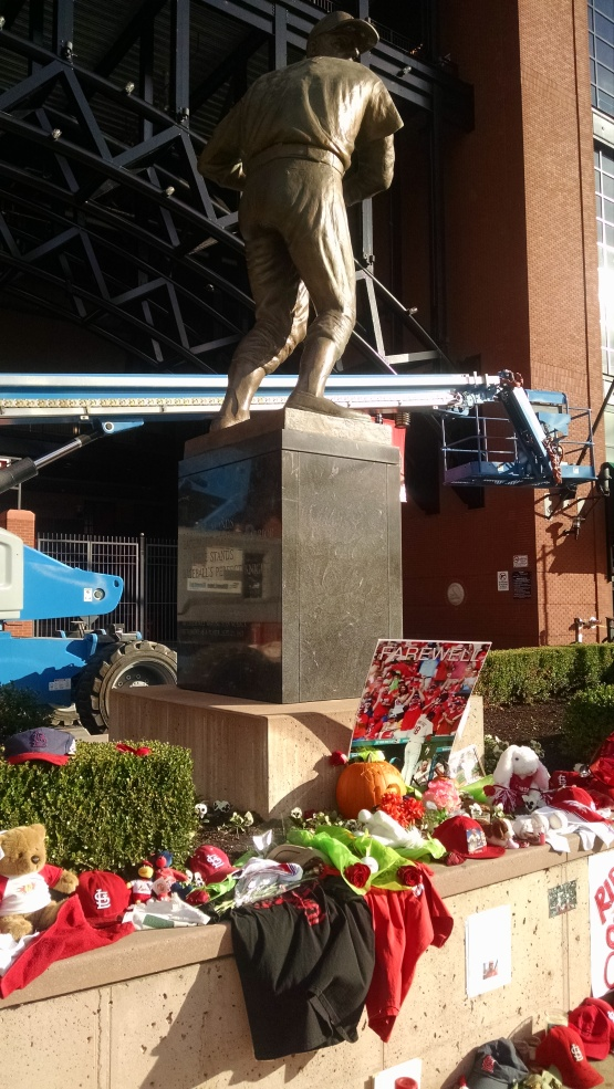 Items from the memorial outside Busch Stadium.